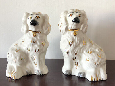 Pair Of Vintage Beswick White Spaniels Mantle Dog Figurines 1378-6 • 80£