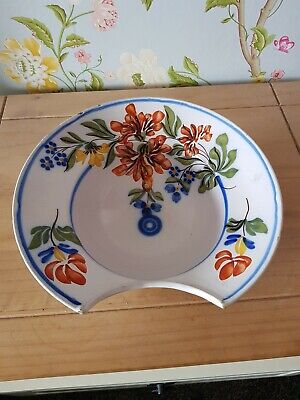Antique French Faience Hand Painted Barbers Shaving Bowl • 70£