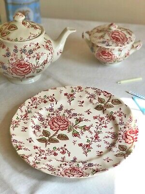 DINNER PLATE 'Rose Chintz Pink' JOHNSON BROTHERS 25 Cm Transferware Cream Red • 23£