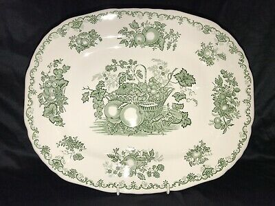 Masons Green Fruit Basket - Oblong Meat / Serving Platter - 13 1/4  Diameter • 12£