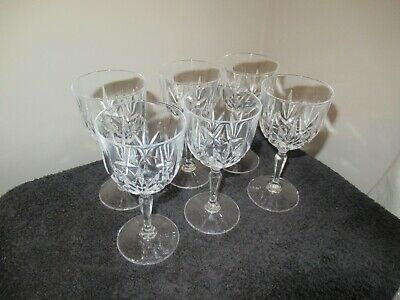 Vintage Small Crystal Wine Glasses X 6 In Absolutely Perfect Condition. • 9.50£