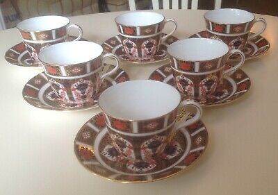 Royal Crown Derby Old Imari Set Of 6 Tea Cups And Saucers • 390£
