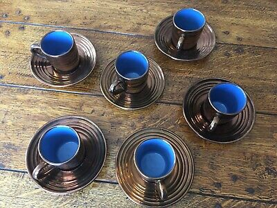 Creigiau Pottery Wales Set Of 6 Coffee Cups And Saucers Copper Lustre/Blue • 14.99£