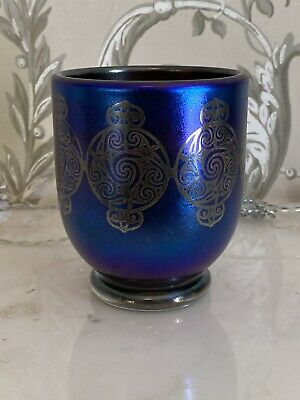 Laugharne Small Iridescent Blue Glass Vase & Silver Celtic Motif, Label In Place • 30£
