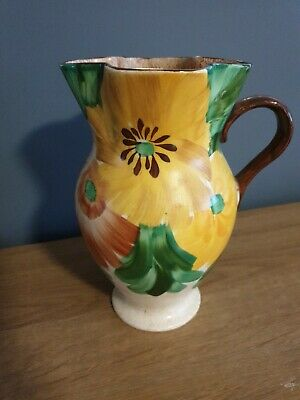 Ivory Ware Hancocks England.  Hand Painted Jug/vase. Green And Yellow Design • 4.99£