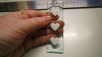 Clear Glass Fused Charm - White Long Hearts - Handmade Gift  • 3.50£