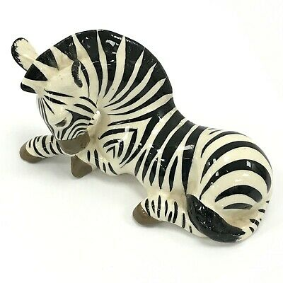 SZEILER ENGLAND Black White Zebra Laying Down 4  Tall Unboxed Ornament 091143 • 6.99£