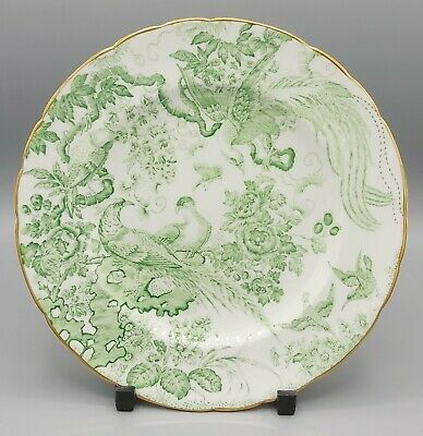 Royal Crown Derby Green Aves Plate 1956-1965 Floral Peacocks Design. • 9.99£