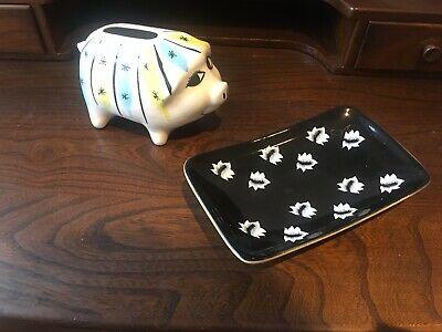 Eastgate Pottery Dish And Retro Saving Piggy Bank- Unknown Pottery • 5£