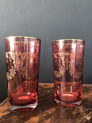 Pair Vintage Cranberry Needle Engraved Gold Gilt Tall Glasses • 6.99£