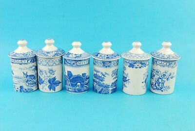 Lot Of Six Vintage SPODE Blue Room Collection Seasoning And Herb Pots/ Caddies • 19.99£
