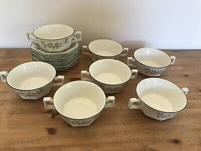 7 X Eternal Beau Twin Handled Soup Bowls & Saucers - Lovely Condition • 13£