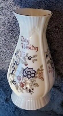 Vintage, Rare, Royal Tara Bone China. Ruby Wedding, Floral Vase. Made In Ireland • 25£