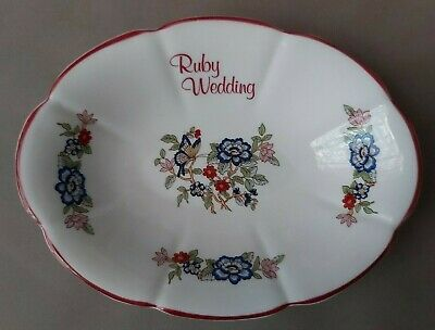 Vintage, Rare, Royal Tara Bone China. Ruby Wedding, Floral Dish. Made In Ireland • 20£