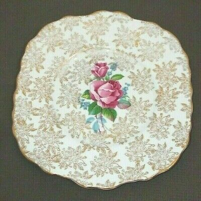 Large Early Chintz Imperial English China Plate With Roses & 22k Gold Decoration • 9.99£