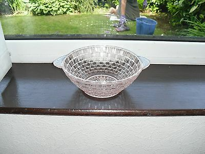 VINTAGE PINK GLASS BOWL WITH HANDLES C1930-40's, • 6£
