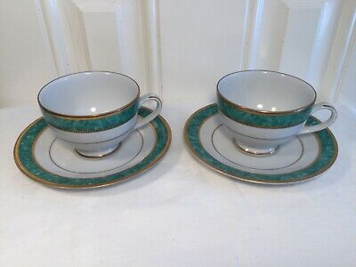 Ashford 9464 Vesuvio Fine Porcelain Pair Of Cups And Saucers - Green White Gold • 9.99£
