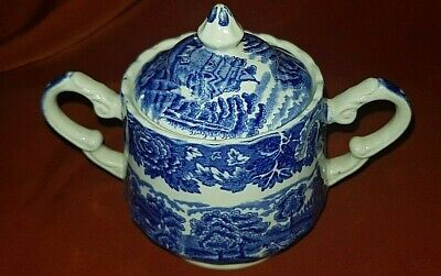 Vintage - Woods Ware  English Scenery  -  Lidded  Sugar Bowl - Blue & White • 8.99£