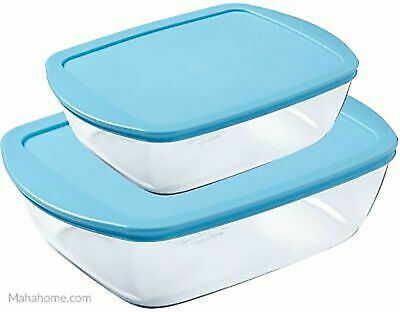 Pyrex Rectangular Storage Glass Dish With Blue Lid Set Of 2 Pieces • 12.88£