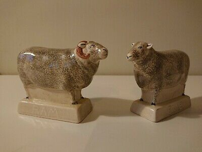 Rye Pottery Ewe And Ram Sheep Ornament • 70£