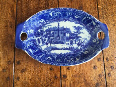 Vintage Victoria Ware  Blue And White Double Handle Plate  • 14.99£