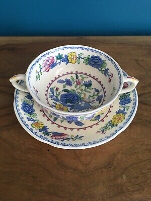 Mason`s Regency Pattern Double Handled Shallow Soup Bowl And Saucer • 3.99£