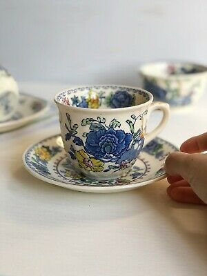 Vintage TEA CUP And SAUCER Duo 'REGENCY' By MASONS England Blue Transferware • 10£