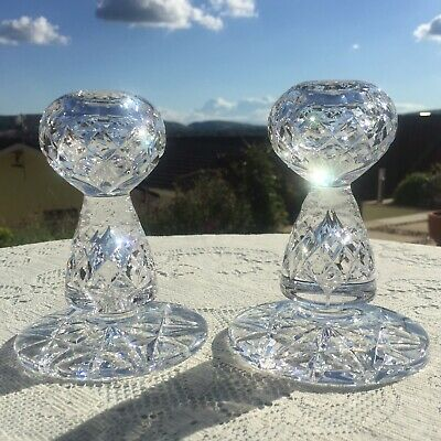 PAIR Vintage Heavy Lead Crystal Cut Glass Candlesticks Candle Holders • 34.95£