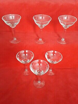 6 Vintage Hand Blown  Martini Illusion Style Glasses  • 25£