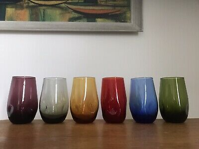 Set Six Vintage Art Glass Harlequin Tumblers - Dimpled - Mid Century • 29.99£