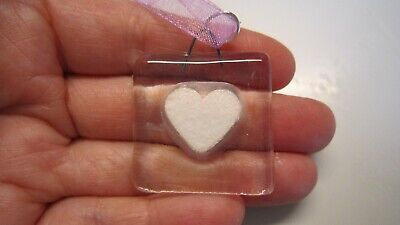 Clear Glass Fused Charm - White Heart - Handmade - Wedding Favours • 1.50£