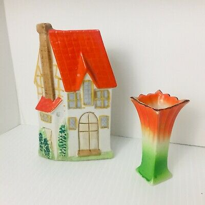 Vintage House Shaped Wall Pocket And Free Standing Small  Planter  Vase Japan • 19.16£