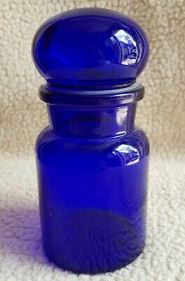 Cobalt Blue Glass Container With Stopper/BELGIUM/ • 12.99£