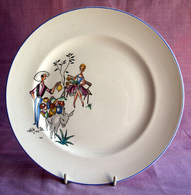 Lovely Vintage Plate 1950s Pottery Seller And Pretty Girl. • 8£