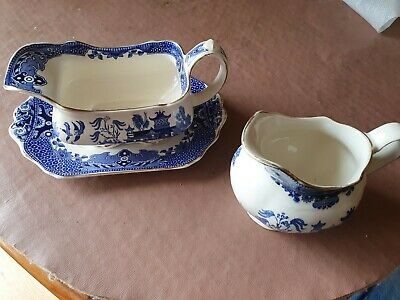 Burleigh Ware Willow Pattern Gravy Boat, Saucer And Jug • 0.99£