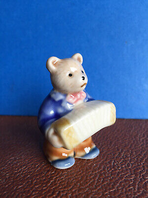 Tiny Porcelain Teddy With Accordion - Hand Painted, Marked, No Chips Or Cracks • 1.99£