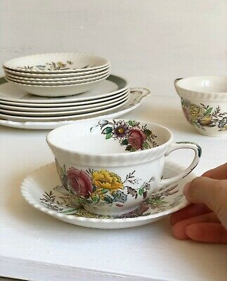 Cream TEA CUP And SAUCER Set 'Garden Bouquet' By Johnson Brothers Transferware • 6.99£