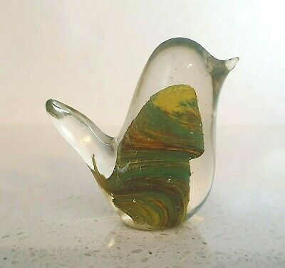 Small Studio Art Glass Bird With Unusual Green / Amber Swirl Opaque Centre • 2£