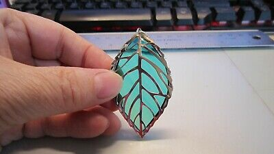 Tiffany Stained Glass - Leaf Pendant - Charm - Ornament - Handmade Gift • 3.50£