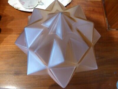 Art Deco Frosted Pink Starburst Glass Lampshade • 25£