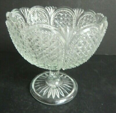 Vintage Footed Pressed Brilliant Glass Bowl • 4.99£