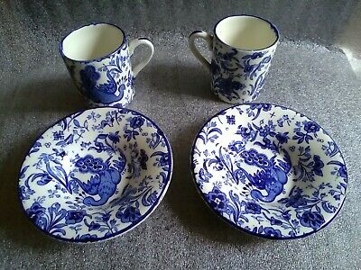 Burleigh Ware Blue & White Regal Peacock Miniature 2 Cup And Saucer • 26.75£