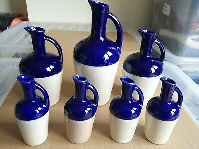 Collection Of 7 Dolfi Liqueur French Ceramic Jugs Blue • 15£