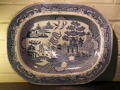 ANTIQUE Victorian Blue & White LARGE Willow Pattern MEAT PLATTER • 19.99£