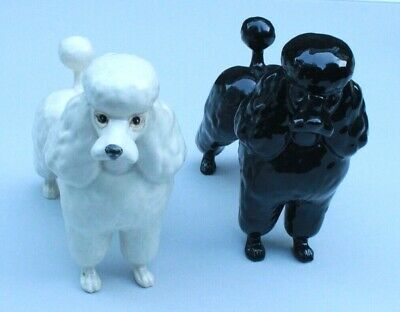 Pair Of Vintage Beswick Ceramic Black And White Gloss Poodles. • 1.04£