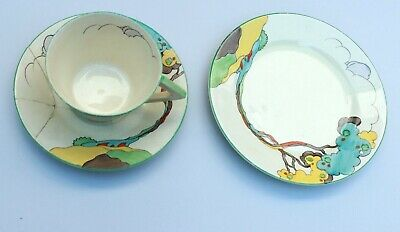 Antique Art Deco Clarice Cliff Blue Autumn? Conical Cup, Saucer And Plate.  • 16.20£