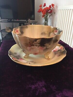 Antique Dixonian Rose Fruit Bowl With Drainage&plate Stand Reg No 662359 • 15£