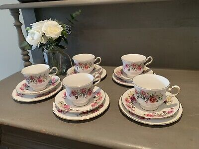 Set Of Five Royal Vale Teacup, Saucer & Side Plate Trio's & China Cake Plate • 40£
