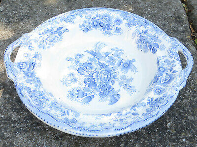 19th C Asiatic Pheasants Blue & White Transfer Ware Compote, Footed Bowl • 39.99£