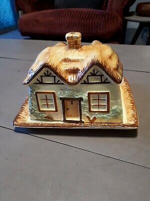 Vintage Keele St.pottery Cottage Ware Butter/cheese Dish & Cover • 4£